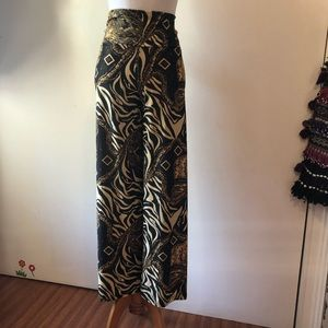 Animal print pants flare S:S brown,gold,black